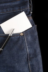 blank card at jeans pocket