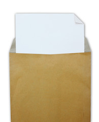 Opened brown envelope with white paper on white background