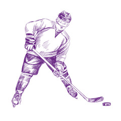 Hockey Player hand drawn vector llustration