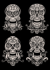 Day of The Dead Skull Tattoo Vector Set