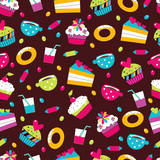 Sweet cake. Seamless pattern. Vector.