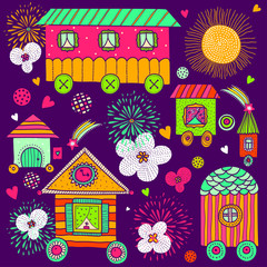 Children's vector seamless pattern to the houses.