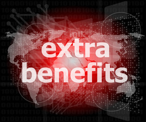 extra benefits slogan poster concept. Financial support design