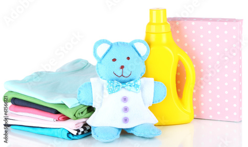 canvas print picture Softener dryer and washing powder with children clothes