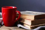 Cup of hot tea with books and plaid on table on dark background