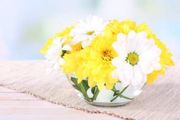 Beautiful chrysanthemum flowers in vase