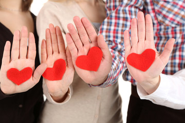 Hands with hearts,  close up