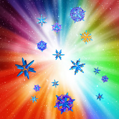 Particles on a colorful background