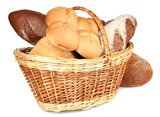 Composition with bread and rolls in wicker basket isolated
