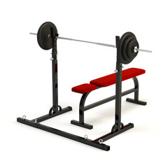 Barbell bench press isolated on a white background