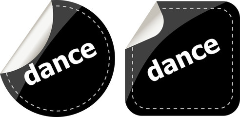 dance word on black stickers web button set, label, icon