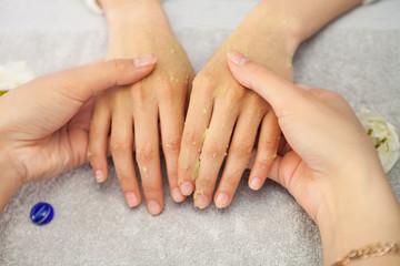 Spa salon. Manicure. Peeling.
