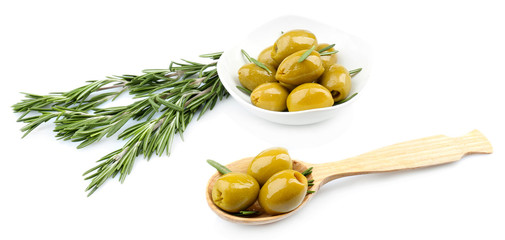Tasty olives, isolated on white