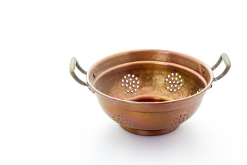 old copper colander