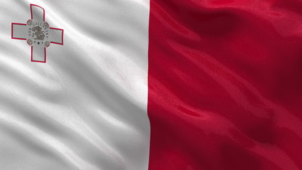 Flag of Malta waving in the wind - seamless loop