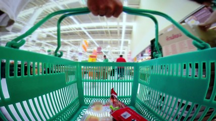 basket in a supermarket timelapse