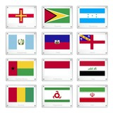 Gallery of National Flags on Metal Texture Plates