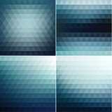 Smooth triangular blue backgrounds set