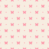 Retro seamless pattern with pink butterflies and dots