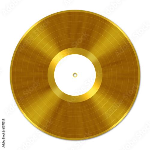 Leinwanddruck Bild Golden Vinyl Record, Schallplatte