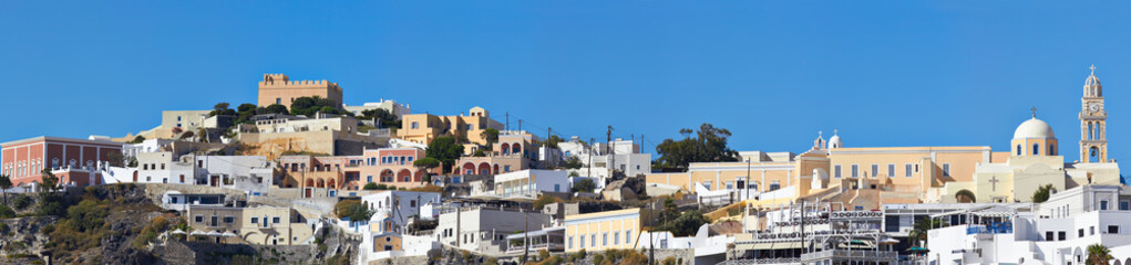 Panoramic view of the Fira (Thira), Santorini, Greece.