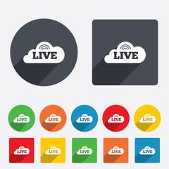 Live sign icon. On air stream symbol.
