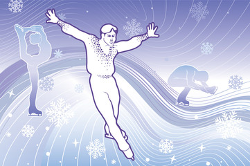 Three Man figure skaters in abstract background