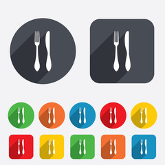 Eat sign icon. Cutlery symbol. Knife and fork.