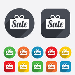 Sale gift sign icon. Special offer symbol.