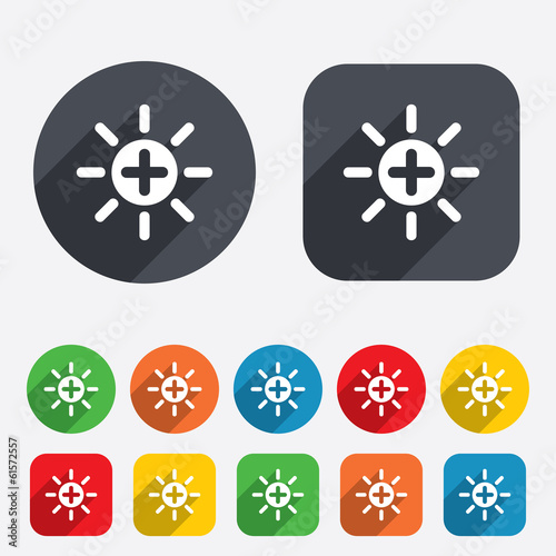 Sun plus sign icon. Heat symbol. Brightness.
