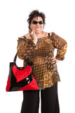 portrait of cheerful woman with her bag, isolated on white