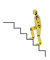 Crash test dummy going up the stairs