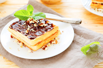 fragrant waffles with chocolate