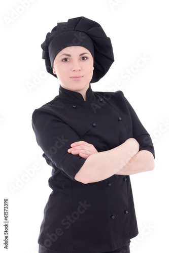 portrait of young attractive cook woman in black uniform isolate