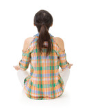 Rear view of Asian woman sit