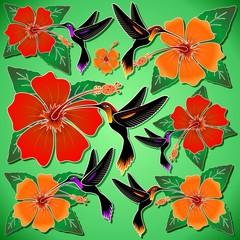 Hummingbird and Hibiscus Batik Pattern
