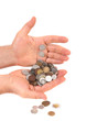 Coins in man hands.