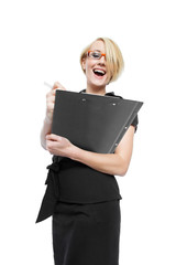 Businesswoman with clipboard isolated