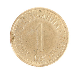 Serbian one dinar coin.