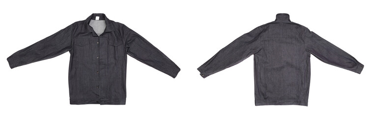 Black men jeans jacket front and back.