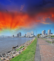 New Orleans, Lousiana. Mississippi waterfront with walkway and c