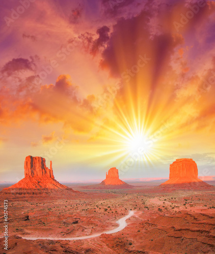 The Monument Valley, Utah. Beautiful landscape at summer sunset