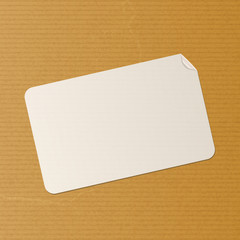 label on brown paper background