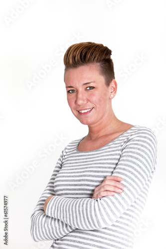 Smiling attractive woman with a modern hairstyle