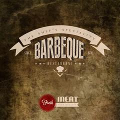 Vintage BBQ Grill restaurant label