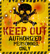 Keep out warning sign w. bullet holes, vector