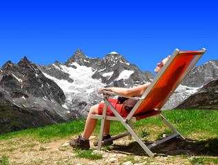 Girl in the Swiss Alps.On the background Mount Gabelhorn.