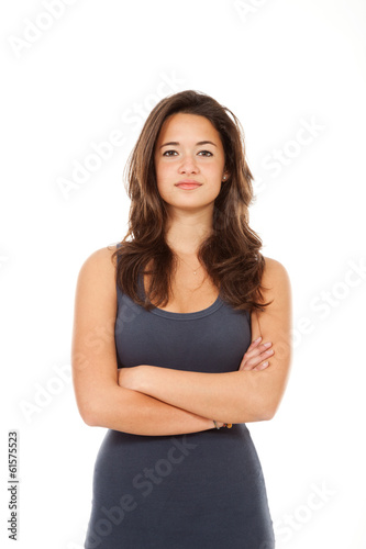 Portrait of brunette, isolated on white background