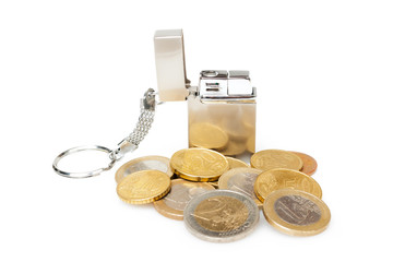 Small cigarette lighter with euro coins