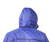 Closeup of man's blue jacket hood.